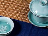 薄胎厚釉润如青玉,四次施釉的高难度收藏级,龙泉非遗实用盖碗套组