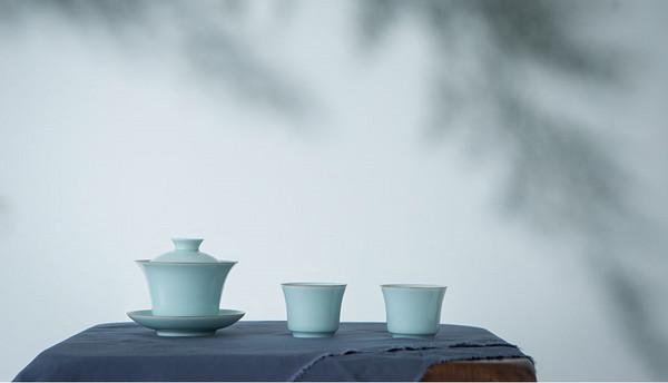 龙泉青瓷粉青釉单杯/盖碗套组