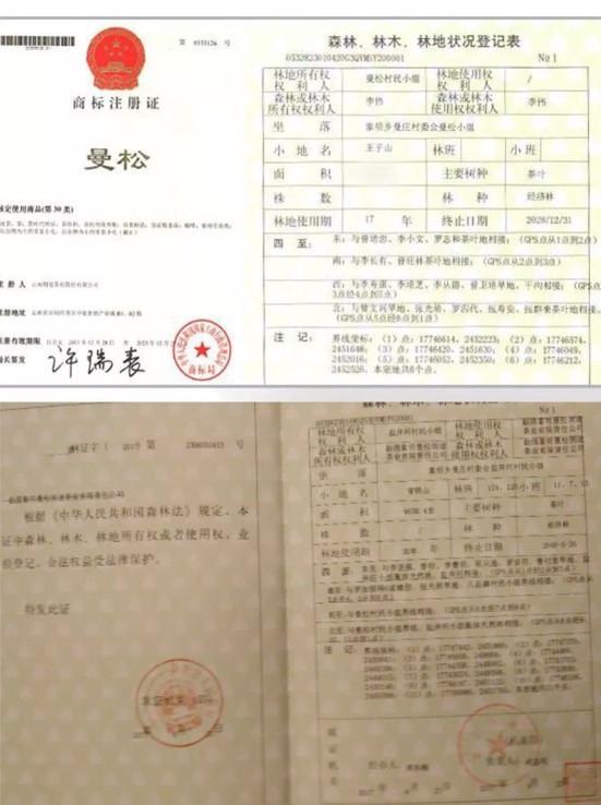 则道在2013年注册曼松商标,并拥有曼松核心产区绝大部分林权,全部有证可寻