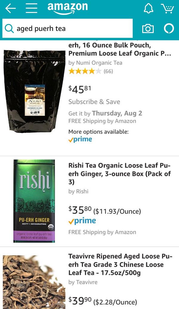 美国亚马逊网站上的普洱都已分装好,用于直接出售。