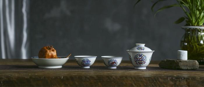 斗彩茶器套组,八宝祥纹图案