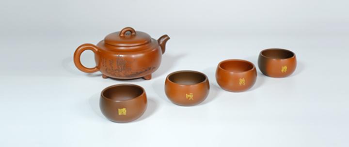 坭兴陶茶具套组,钦江原矿泥料,古法手制