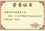 2014年 中国茶叶行业综合实力百强企业