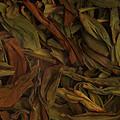 叶底为墨绿色,三红七绿,用手感知叶片嫩度好,叶张较薄,柔软,匀整,无碎末。