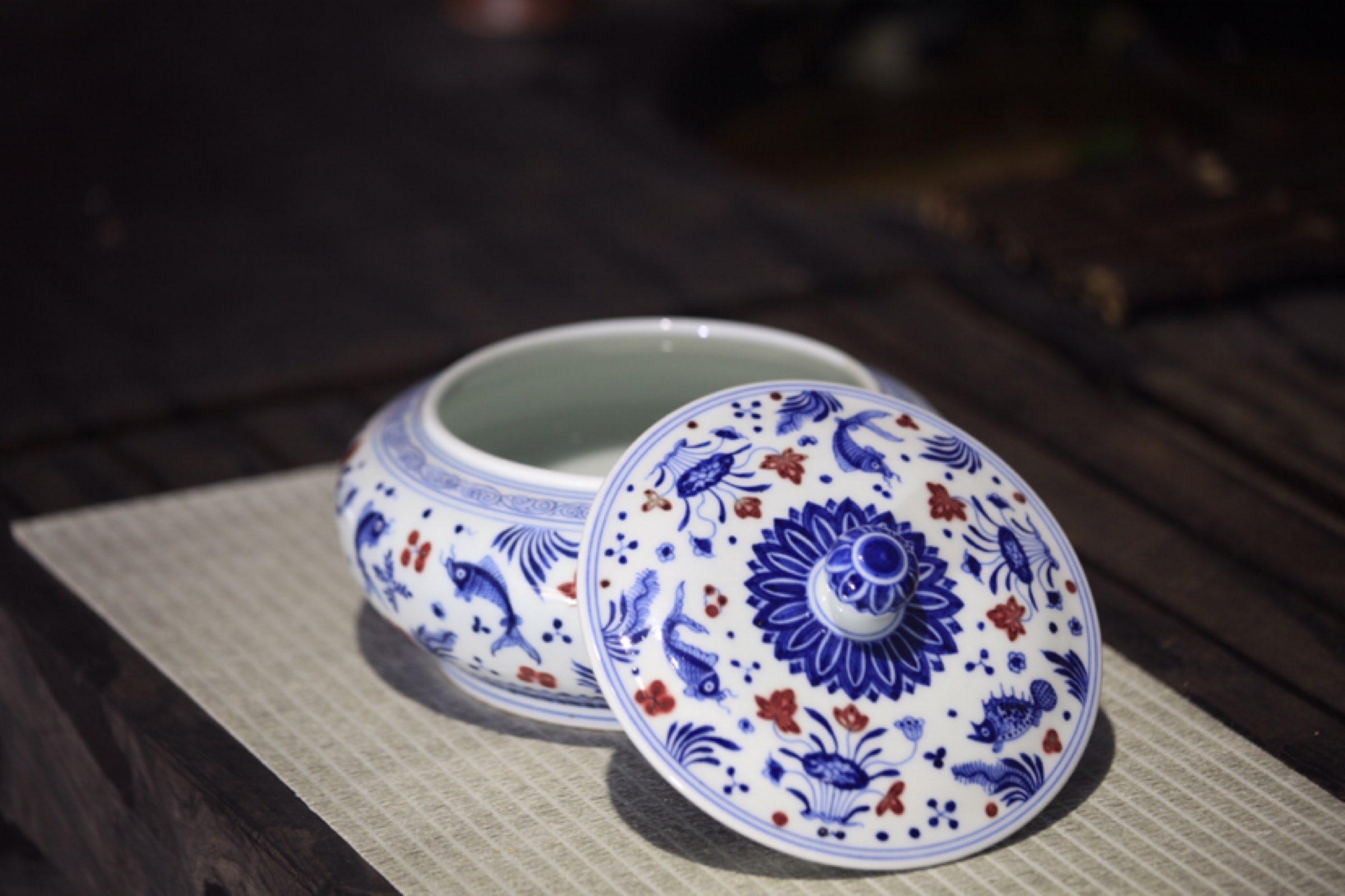 传统手工茶具之青花釉里红