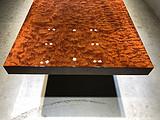 非洲加蓬高山水波纹巴花实木大板茶桌餐桌办公桌会议桌