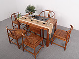 胡桃木乌金木原生态实木禅味悠然茶桌六件套新中式明式