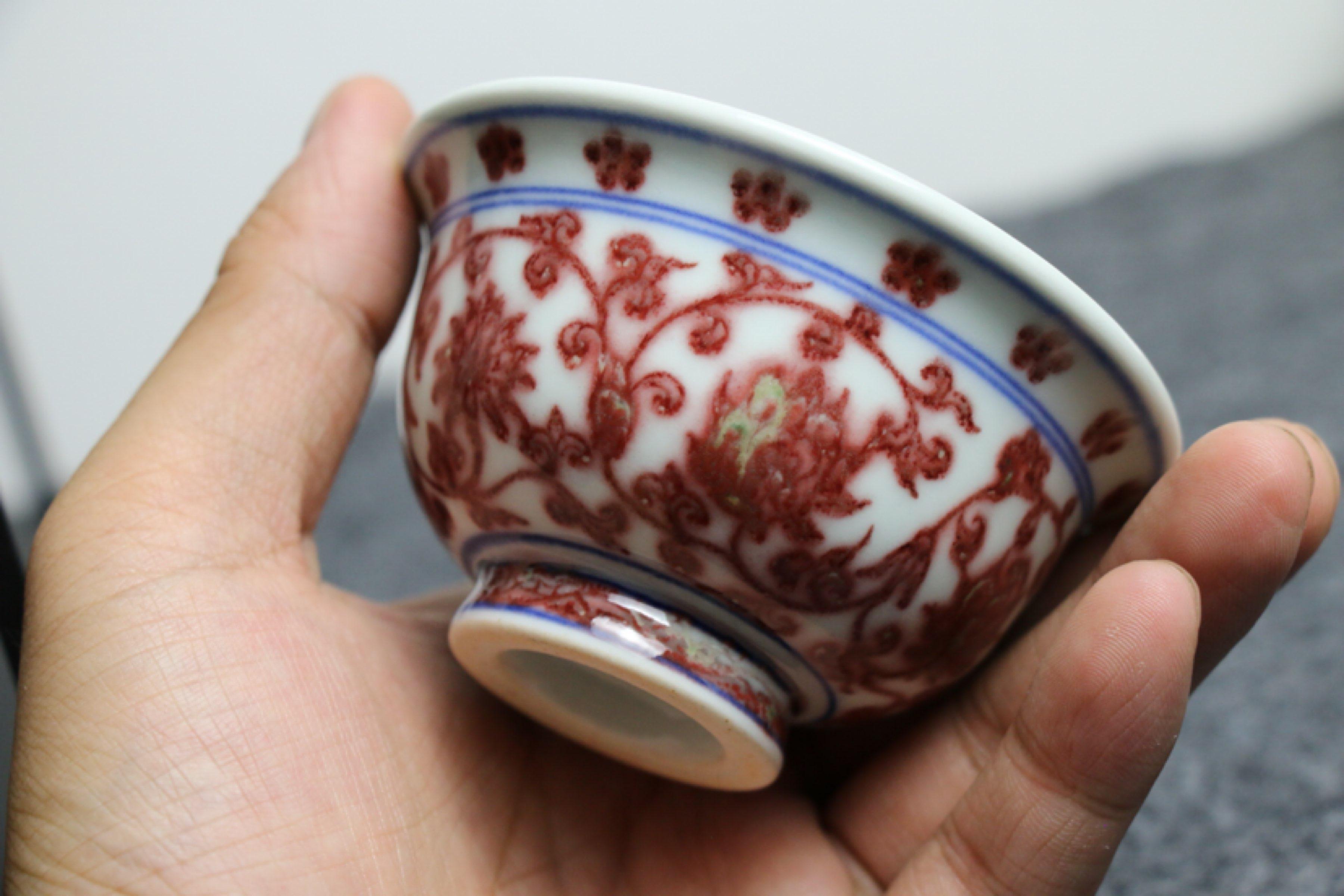 纯手工手绘釉里红压手杯